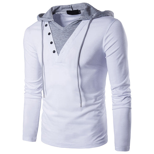 Simple Fashion Hooded Split Joint Men's T-shirt