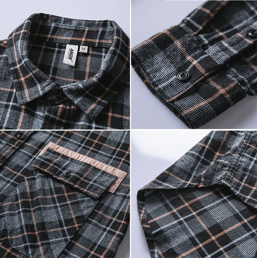 Loose Fashion Plaid Printed Lapel Long Sleeve Men's Shirt