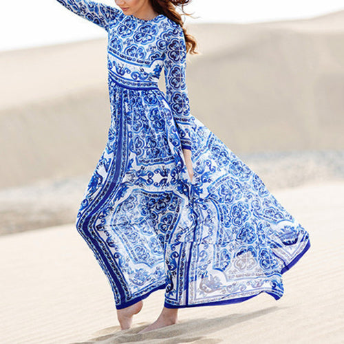 Charming Blue Boho Printed Long Sleeve Beach Maxi Dress - KINGEOUS