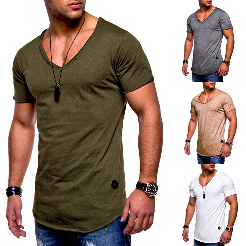 Cotton Solid Color V-Neck Breathable Men's T-shirt - KINGEOUS