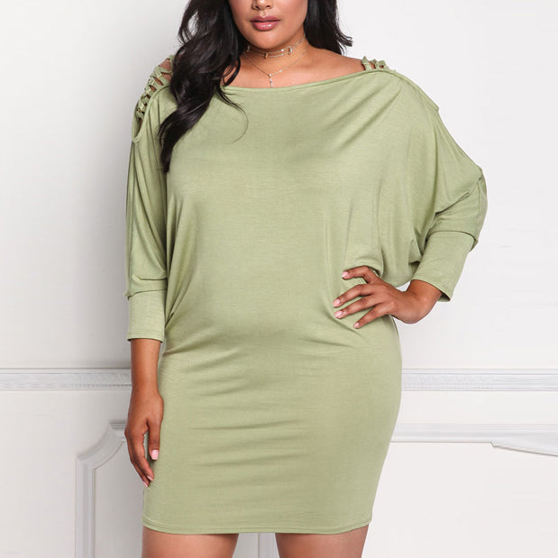 Charming Bat Sleeve Solid Color Slim Plus Size Short Dress - KINGEOUS