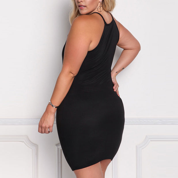 Sexy Hollow Sleeveless Solid Color Plus Size Lady's Short Dress