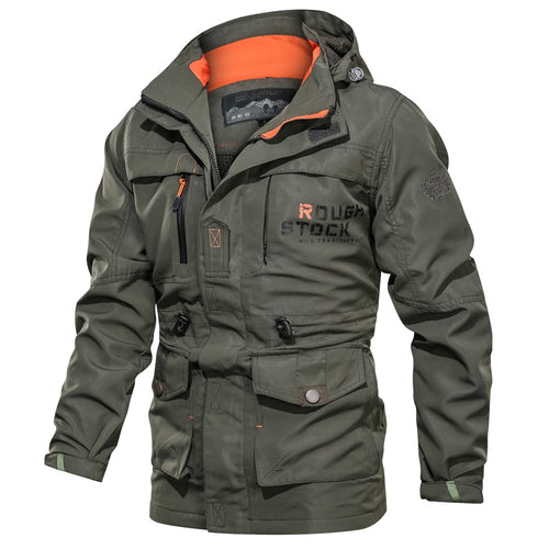 Waterproof Breathable Long Hooded Stand Collar Men's Jacket