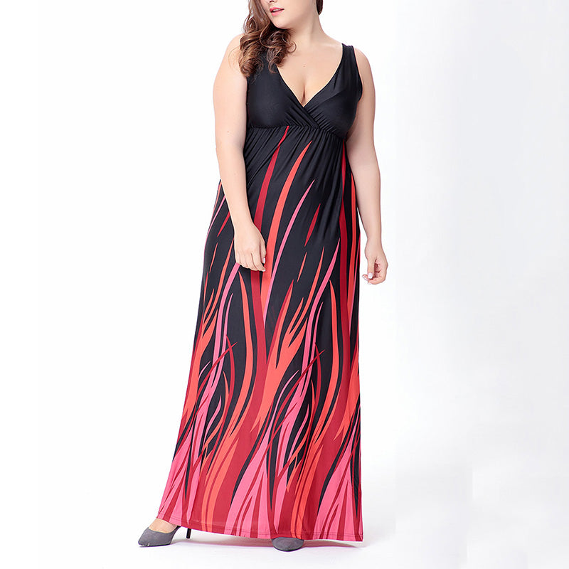 Stylish Deep V-neck Printed Sleeveless Plus Size Maxi Dress