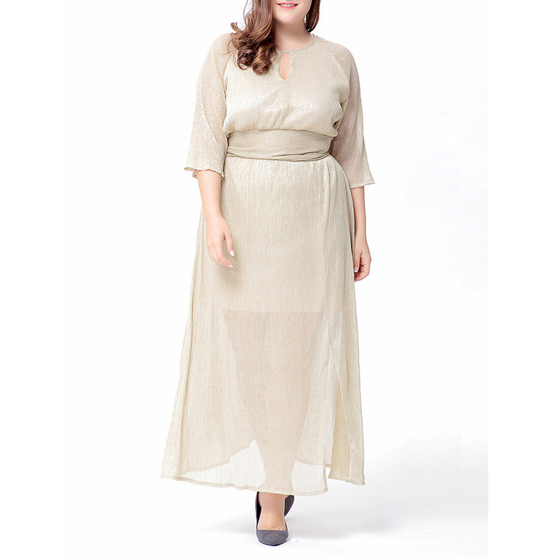 1bce9b7fa7d Beige Solid Color Half Sleeve Plus Size Maxi Dress – TANGEEL