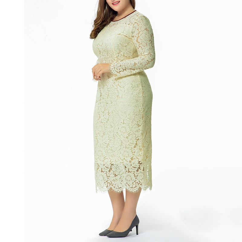 Round Neck Lace Long Sleeve Slim Plus Size Bodycon Dress