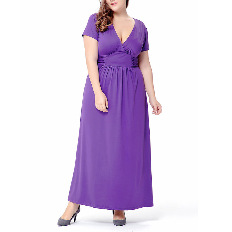 Solid Color Deep V Neck Short Sleeve Plus Size Maxi Dress Tangeel