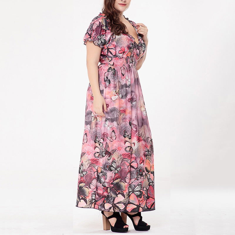 Deep V-neck Short Sleeve Butterflies Printed Plus Size Maxi Dress - KINGEOUS