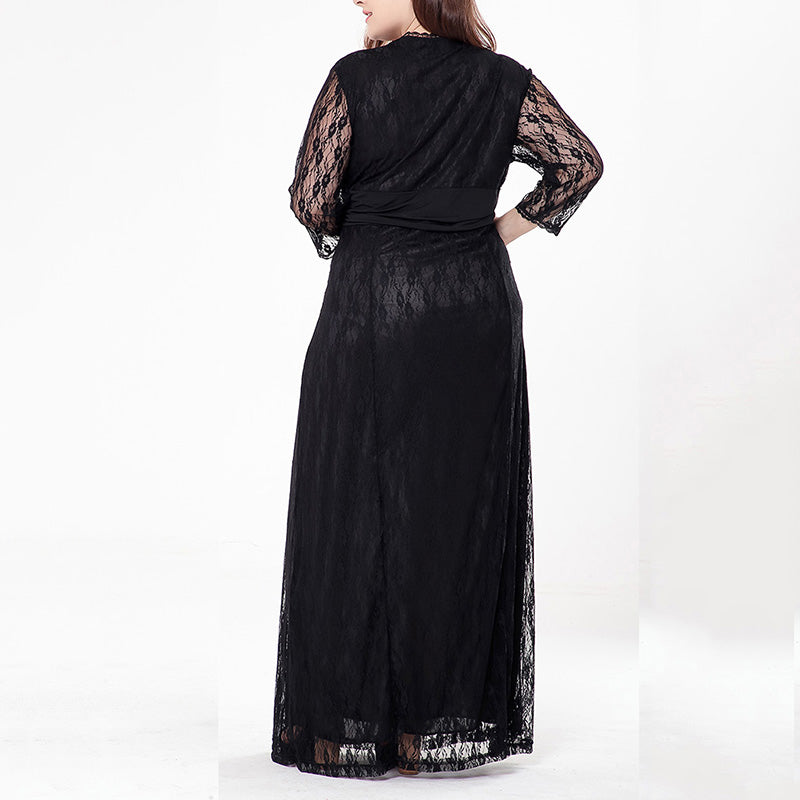 Solid Color Deep V-neck Black Long Sleeve Lace Maxi Dress