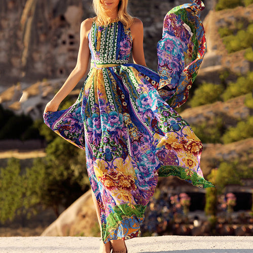 Stylish Boho Pattern Printed Sleeveless Beach Maxi Dress