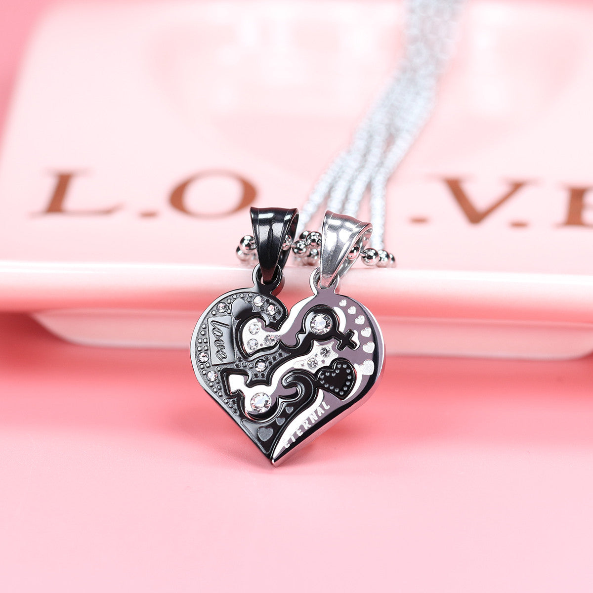 Love Heart Shape Stainless Steel Couple Necklace - KINGEOUS