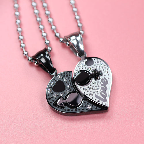 Sweet Love Heart Shape CZ Inlaid Stainless Steel Couple Necklace