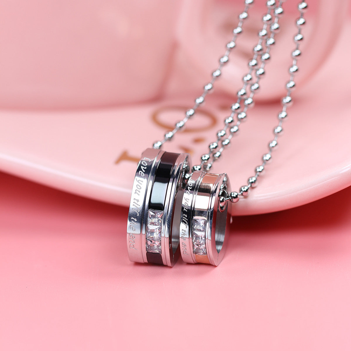 Love You Till The End Stainless Steel Couple Necklace