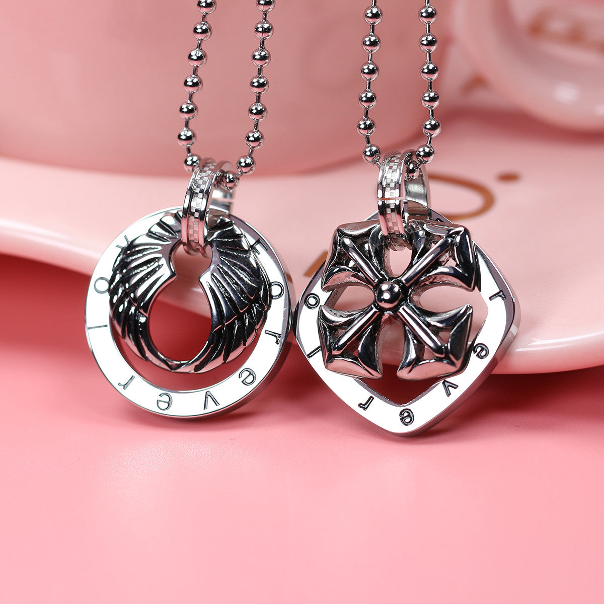For Ever Love Wings and Cross Shape Stainless Steel Couple Necklace - KINGEOUS