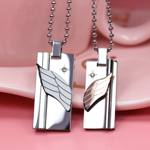 Romantic Wings Shape CZ Inlaid Stainless Steel Couple Necklace