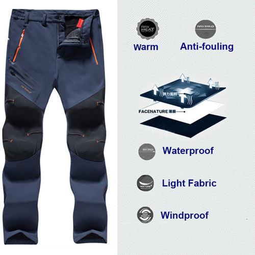 Fishing Waterproof Camping Softshell Thick Men Pants