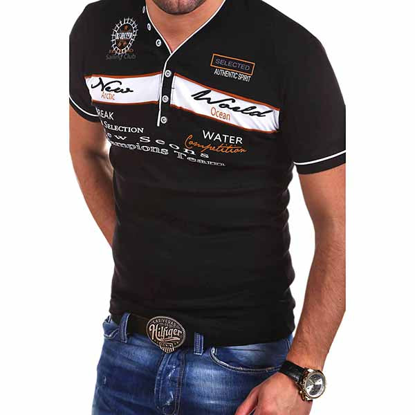 Leisure Letters Embroidery V-neck Men's T-shirt