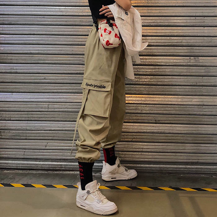 Hip-hop Ribbon Ankle Banded Women's Cargo Pants