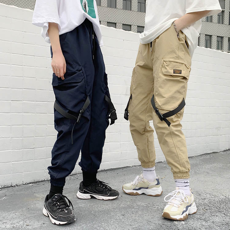 Hip-hop Solid Color Ankle-banded Women's Cargo Pants