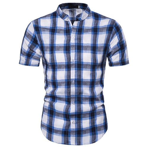 Plaid Printing Standing Collar Short-sleeve Men's Shirt