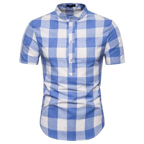 European Size Plaid Printing Standing Collar Men's Shirt