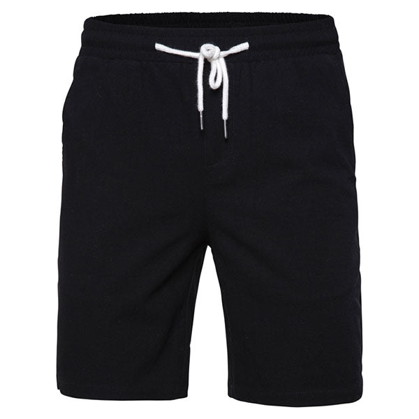Fresh Simple Elastic Waist Solid Color Men's Shorts