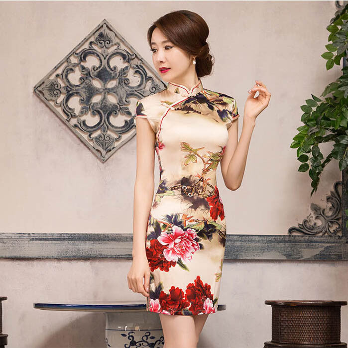 Retro Flower Printed Slim Cap Sleeve Silk Short Cheongsam