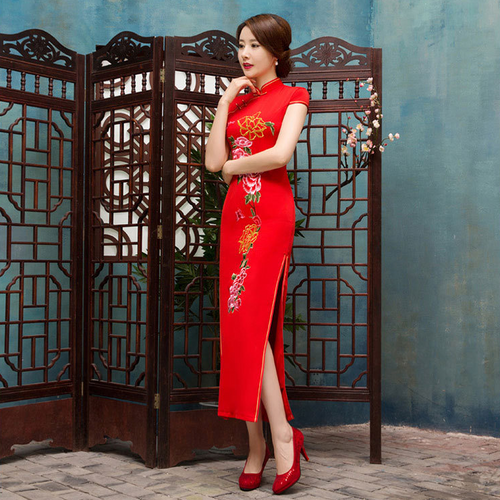 Brilliant Flower Printed Slim Cap Sleeve Silk Red Long Cheongsam - KINGEOUS