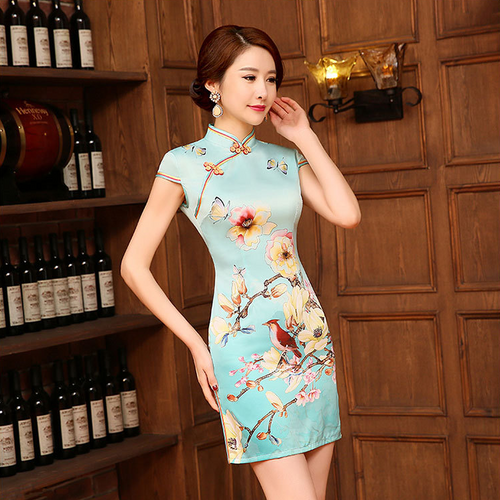 Flowers and Butterflies Printed Band Collar Slim Silk Short Cheongsam - KINGEOUS