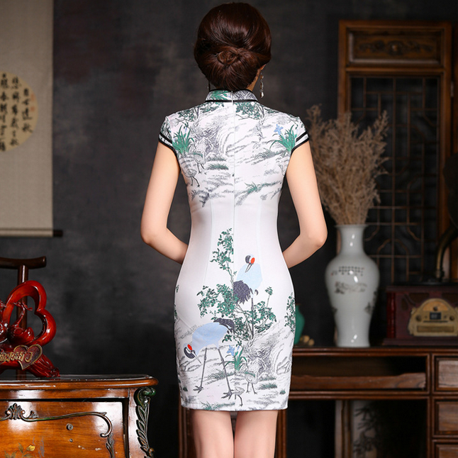 Amazing Crane Printed Tradition Short Cheongsam Dress - KINGEOUS