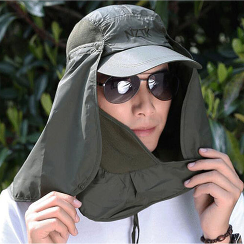 UV Protection Flap Hat Sun Proof With Face Mask