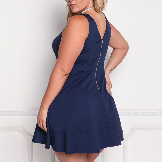 Simple Solid Color Slim Sleeveless Plus Size Short Sundress