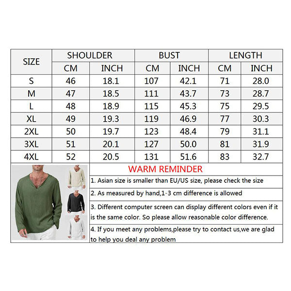Casual Linen Solid Color Deep-V Collar Long sleeve Men's T-shirt - KINGEOUS