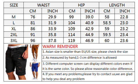 Fashion Solid Color Casual Holes Washed Jeans Men's Shorts