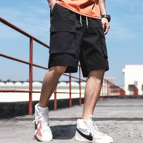 Casual Loose Elastic Waist  Men's Cargo Shorts - KINGEOUS