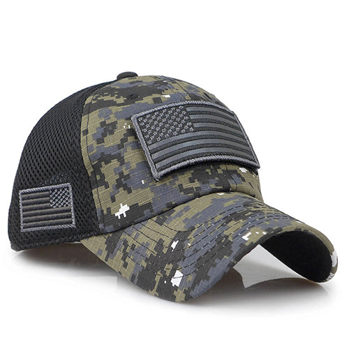 Tactical Camouflage Baseball Caps Men Hats With USA Flag Patches