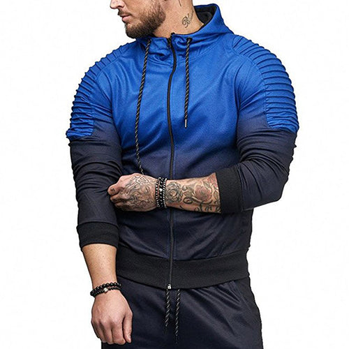 Leisure Sport Hooded Color Matching Men's Hoodie