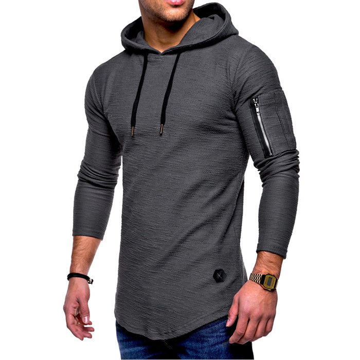 Arm Zipper Design Solid Color Round Neck Hooded Men's Hoodie - KINGEOUS
