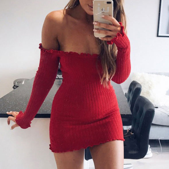 Sexy Boat Neck Slim Long Sleeve Bodycon Dress