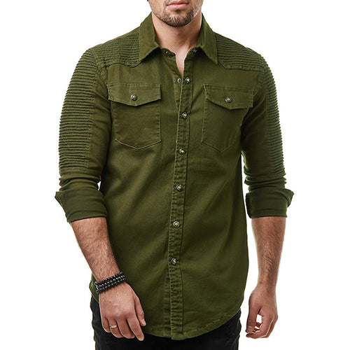 Fold Cowboy Shawl Style Long-sleeved Men's Shirt