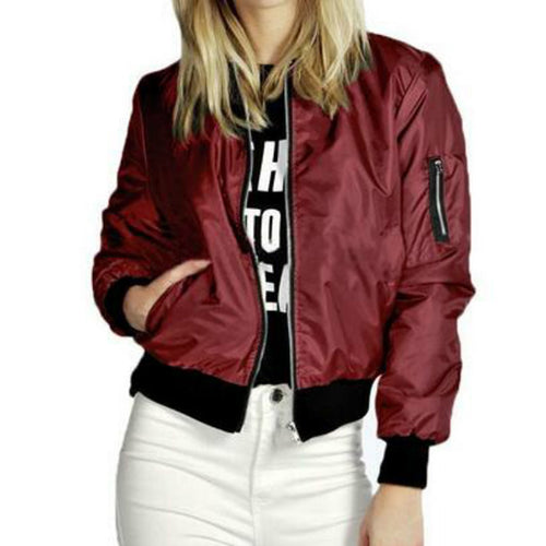 Fashion Casual Solid Color Zipper Women's Jacket