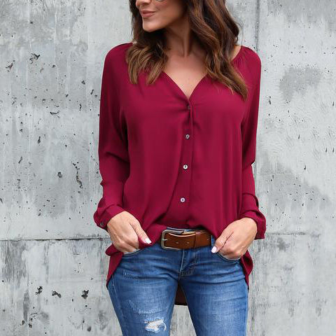 Sexy V-neck Solid Color Chiffon Causal Women's Blouse