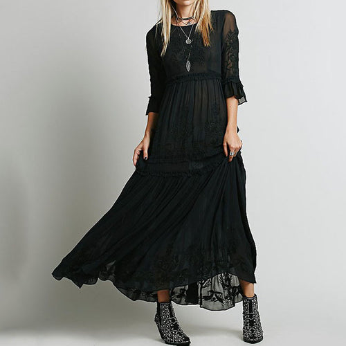 Vogue Solid Color Embroidery Cotton Maxi Dress(2 Color)