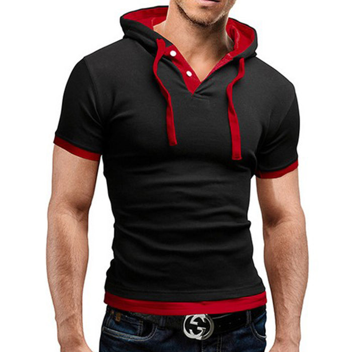 High Quality Short Sleeve Hooded Men's T-Shirt