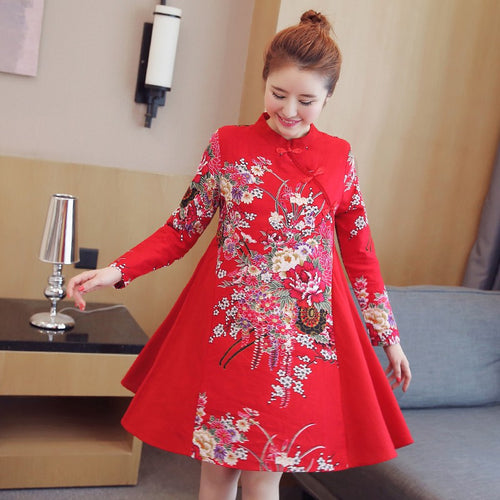 A-line Printed Long Sleeve Loose Short Cheongsam Dress - KINGEOUS