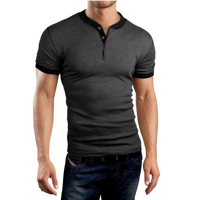 Splice Contrast Color Round-neck Plus Size Men's T-shirt