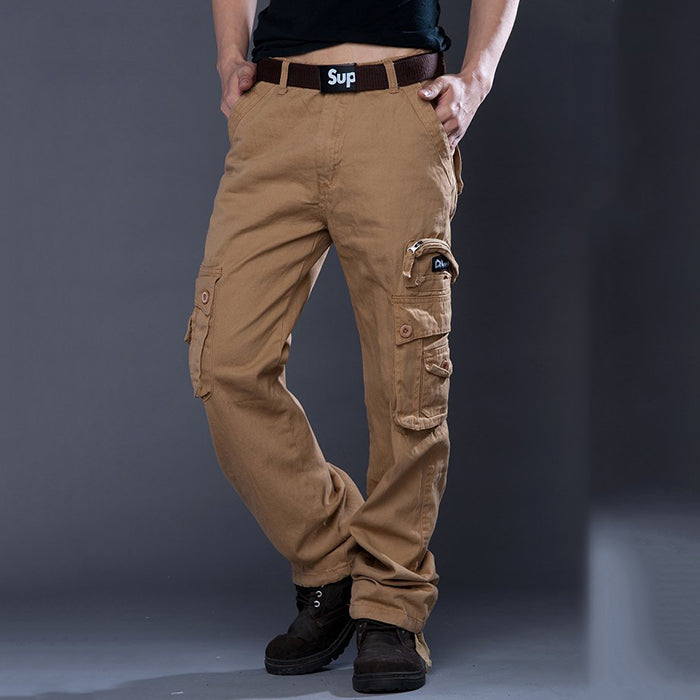 New Outdoor Straight Loose Multi-Pocket Pure Cotton Men's Pants