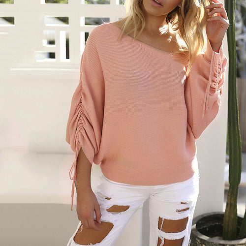 Sexy Off Shoulder All-match Long Sleeve Knit Women's Sweater