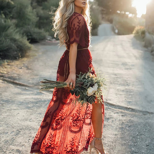 Solid Color Wine Red Deep V-neck Lace Maxi Dress - KINGEOUS