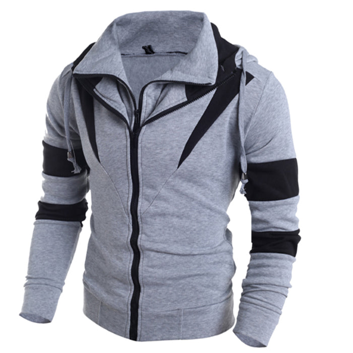 Color Matching Double Zipper Hooded Men's Hoodie - KINGEOUS